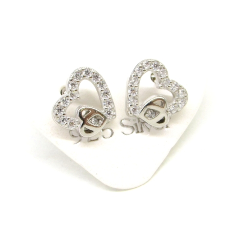 Díszített kis szív ezüst fülbevaló