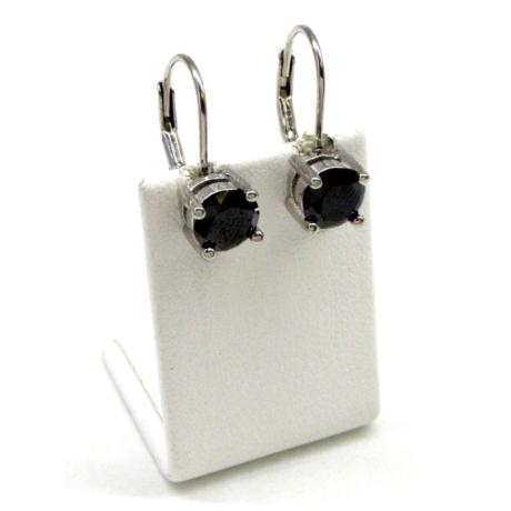 Fekete patentkapcsos ezüst fülbevaló
