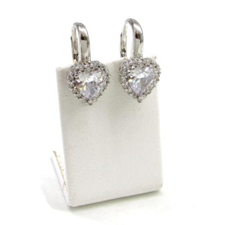 ÉKES SZÍV ezüst fülbevaló (fehér)